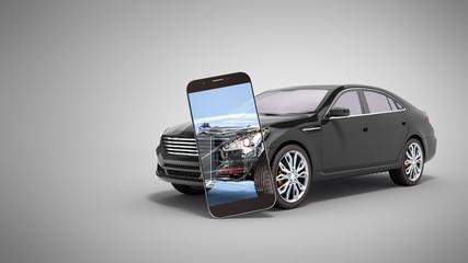 car mobile diagnostic concept black car studio view 3d render image