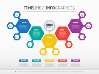 Business presentation concept with 5 options. Web Template of a sales pipeline, purchase funnel, sales funnel, info chart or diagram. Vector infographic of technology or education process.