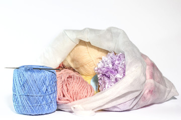 Colorful yarn in bags