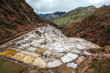 Salt natural mine. Inca Salt pans at Maras, near Cuzco in Sacred Valley, Peru