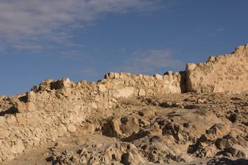 Abandoned fortified wall, Masada, Judean Desert, Dead Sea Region, Israel