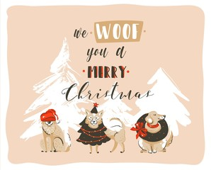 Hand drawn vector abstract fun Merry Christmas time cartoon illustrations poster with xmas dogs and modern handwritten calligraphy text We Woof you a Merry Christmas isolated on pastel background