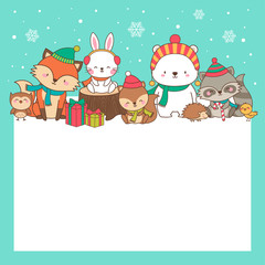Cute animals cartoon hand drawn style with copy space for merry christmas and happy new year card design template