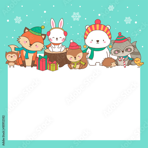cute animals cartoon hand drawn style with copy space for merry christmas and happy new year