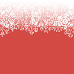 Snowflakes on a red background. Vector illustration.
