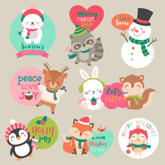 Set of cute cartoon Christmas characters for sticker, badges, card, tag design