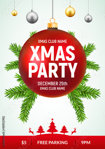christmas party flyer with red and gold ball xmas invitation