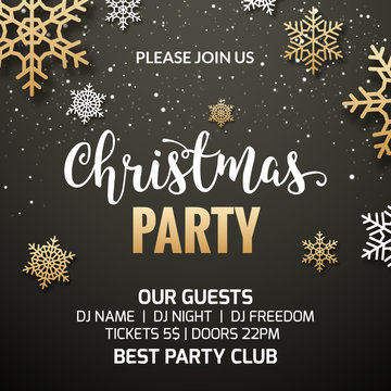 Christmas party poster invitation decoration design. Xmas holiday template background with snowflakes