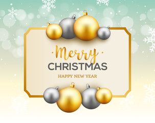 Christmas celebration greeting card background with gold and silver christmas balls. Christmas decoration