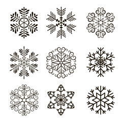 Set of snowflakes. Vector illustration.