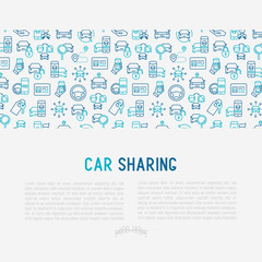 Car sharing concept with thin line icons of driver's license, key, blocked car, pointer, available, searching of car. Vector illustration for banner, web page, print media.