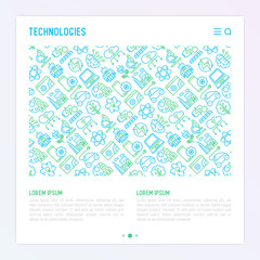 Technologies concept with thin line icons of: electric car, rocket, robotics, solar battery, machine intelligence, web development. Vector illustration for banner, web page, print media.