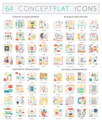 Infographics concept icons of startup development, business motivation, corporate management, business management. Premium quality vector flat design for web graphics.