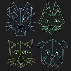 cute cartoon contour heads of pets, polygon origami style