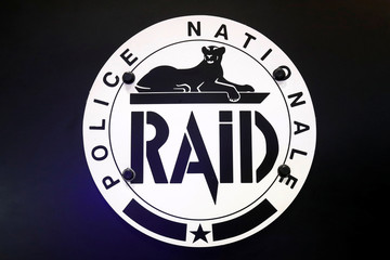 A logo of the Recherche Assistance Intervention Dissuasion (RAID) special police unit, is pictured at the 20th Milipol Paris, the worldwide exhibition dedicated to homeland security, in Villepinte near Paris