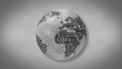 Monochrome computer circuit board Earth on a background of hexadecimal computer code