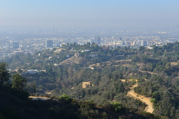The Hollywood Hills overlooking a misty Los Angeles in the early morning