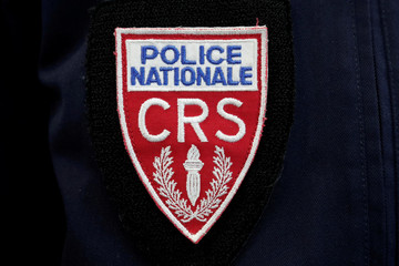 A badge of the Compagnies Republicaines de Securite (CRS), French riot police units, is pictured at the 20th Milipol Paris, the worldwide exhibition dedicated to homeland security, in Villepinte near Paris