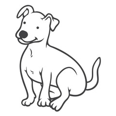 Small Dog Seated, Icon, Character Design, Coloring Page, Vector Illustration