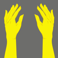 isolated cartoon skethed two yellow hands or latex gloves raised up, creative art for wallpaper