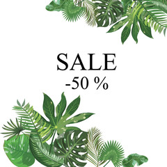 Frame with leaves of tropical plants. Frame for text with exotic leaves. Vector illustration.