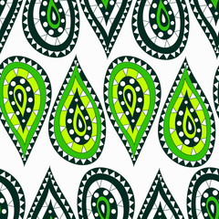 Seamless pattern in the Indian style in the form of cartoon drops of green on a white background