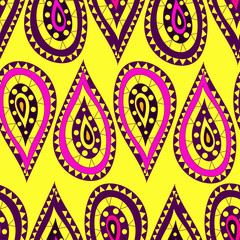 Seamless pattern in the Indian style in the form of cartoon drops of pink and purple on a yellow background