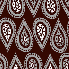 Seamless pattern in the Indian style in the form of drops of gray and white on a claret background