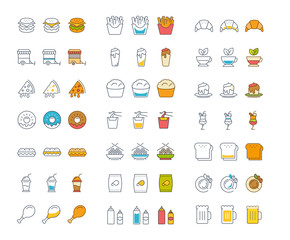 Set Vector Flat Line Icons Fast Food