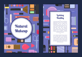Vector card, flyer, brochure template for beauty brand makeup and skincare background