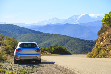 A car in the mountainf of Corsica Island in France
