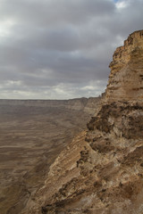 Steep cliffs and dramatic clouds in the sultanate of Oman