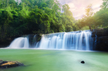 landscape of purity green water fall in national park in Thailand. wonderful landscape, travel and tourism concept.