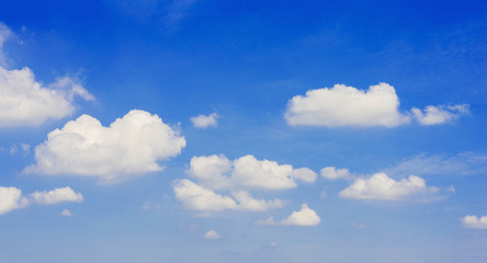 beautiful panorama of blue sky and white gorgeous cloud like fluffy in the air. world wide peaceful and fresh nature.