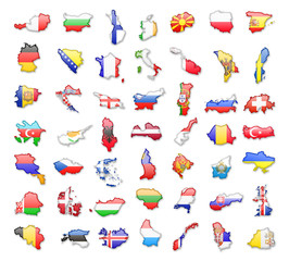 All European Countries with flags. Vector isolated silhouettes