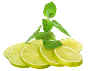 Fresh lime with leaf mint isolated