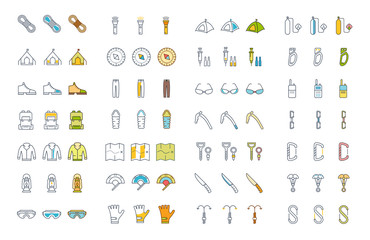 Set Line Icons of Alpinism and Mountaineering