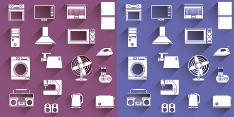 vector set of flat icons of home appliances and electronics