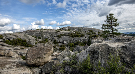Rugged, rock mountain against beautiful sky