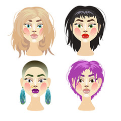 illustration of girls in wigs