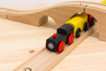 Closeup of magnet wooden toy train.