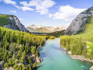 Printed kitchen splashbacks River Aerial view of Bow river in Rockies Mountains, Banff National Park, Alberta, Canada