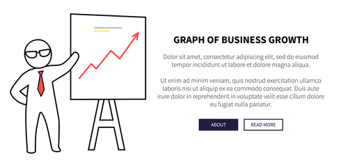 Graph of Business Growth on Vector Illustration