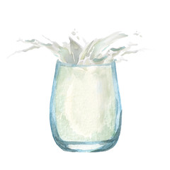Glass of milk with splash. Watercolor hand drawn illustration