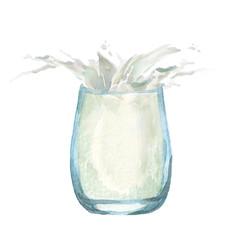 Glass of milk with splash. Watercolor hand drawn illustration