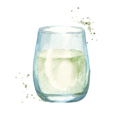 Glass of milk. Hand drawn watercolor illustration