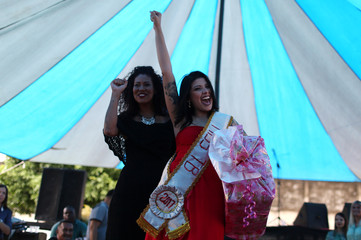 """Mayana Rosa Alves, a prisoner and participant of the """"TB Girl"""" beauty celebrates after winning at the Talavera Bruce women prison in Rio de Janeiro"""