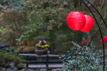 Red Japanese lamps in garden