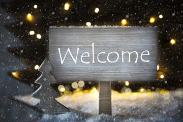 White Christmas Tree, Text Welcome, Snowflakes