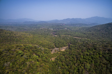 Aerial view of beautiful tropical forest on the coast of Indian ocean in Goa